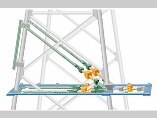 鉄塔の斜材交換装置